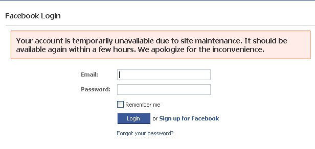 Redfaced at Facebook as site goes down briefly