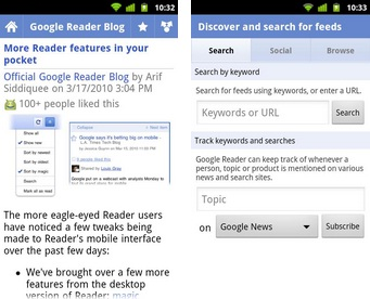 Google Reader App for Android Receives New Look, Tablet Support - Google Reader app, Google Reader Android, Android Market