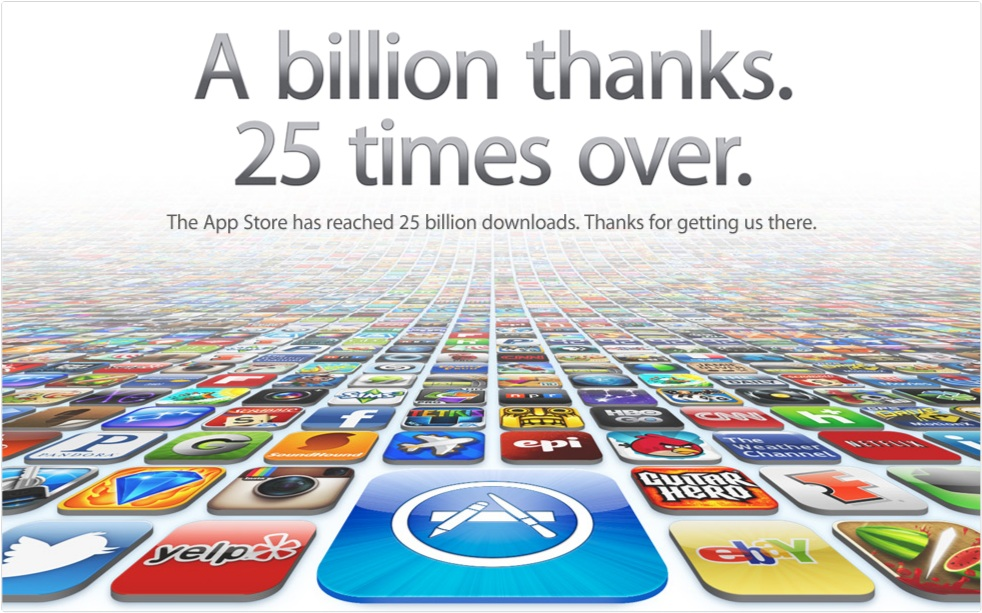 Apple counts down to 25 billion app store downloads with contest.