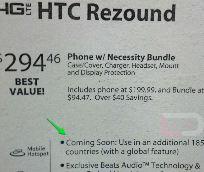 HTC Rezound, Verizon, Global Roaming, 