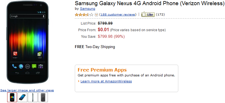 Verizon Galaxy Nexus, Samsung Galaxy Nexus, Amazon Wireless, discount, sale, price cut,