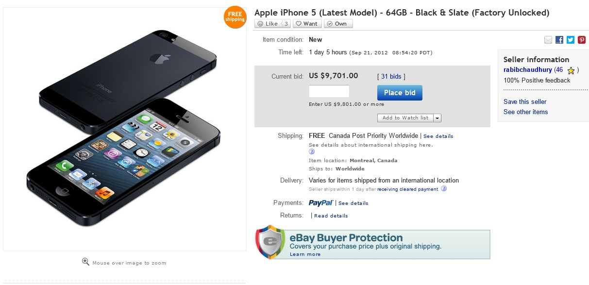 iPhone 5, Apple, eBay, bidding,