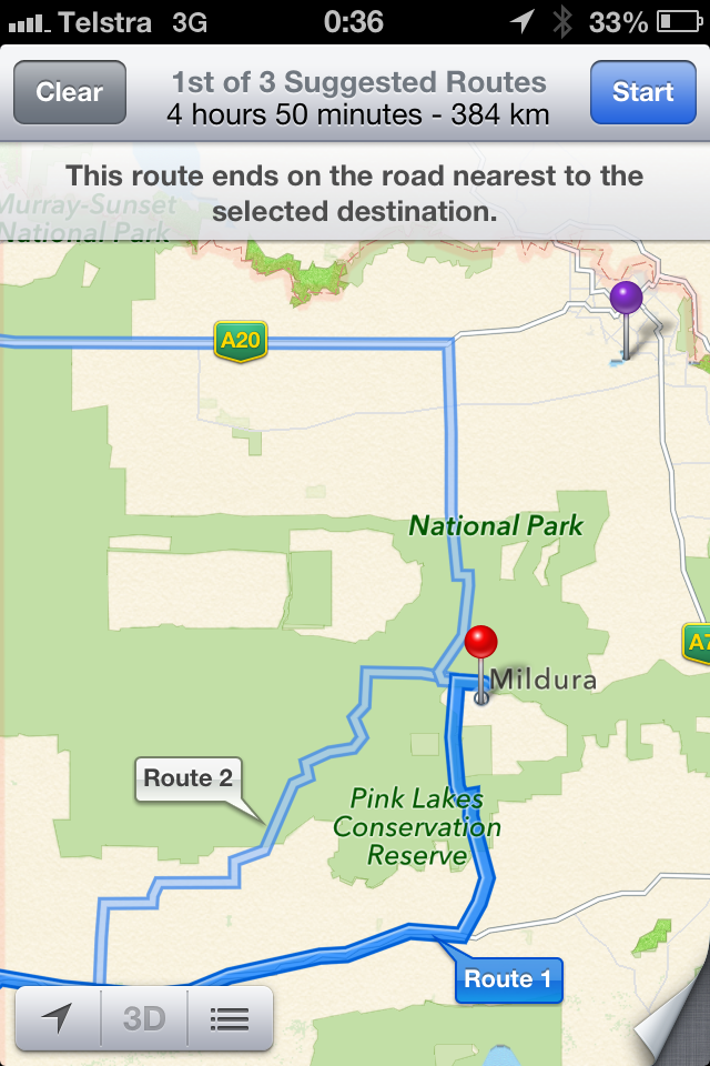 Apple Maps, Mildura Australia, Murray-Sunset National Park, Victoria Police,