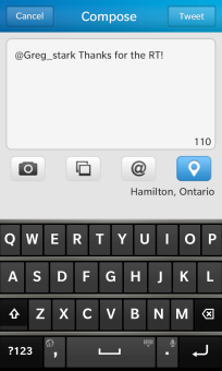 BlackBerry 10 Twitter Compose Tweet Screen
