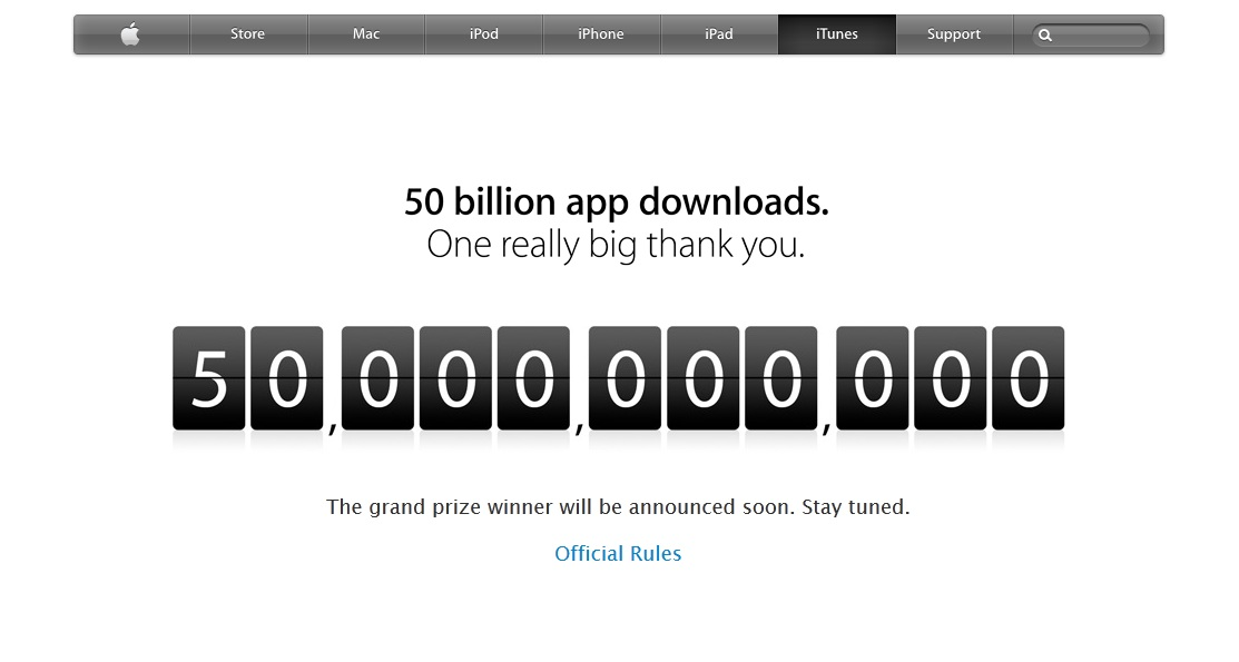 Apple, App Store, downloads, 50 billion,