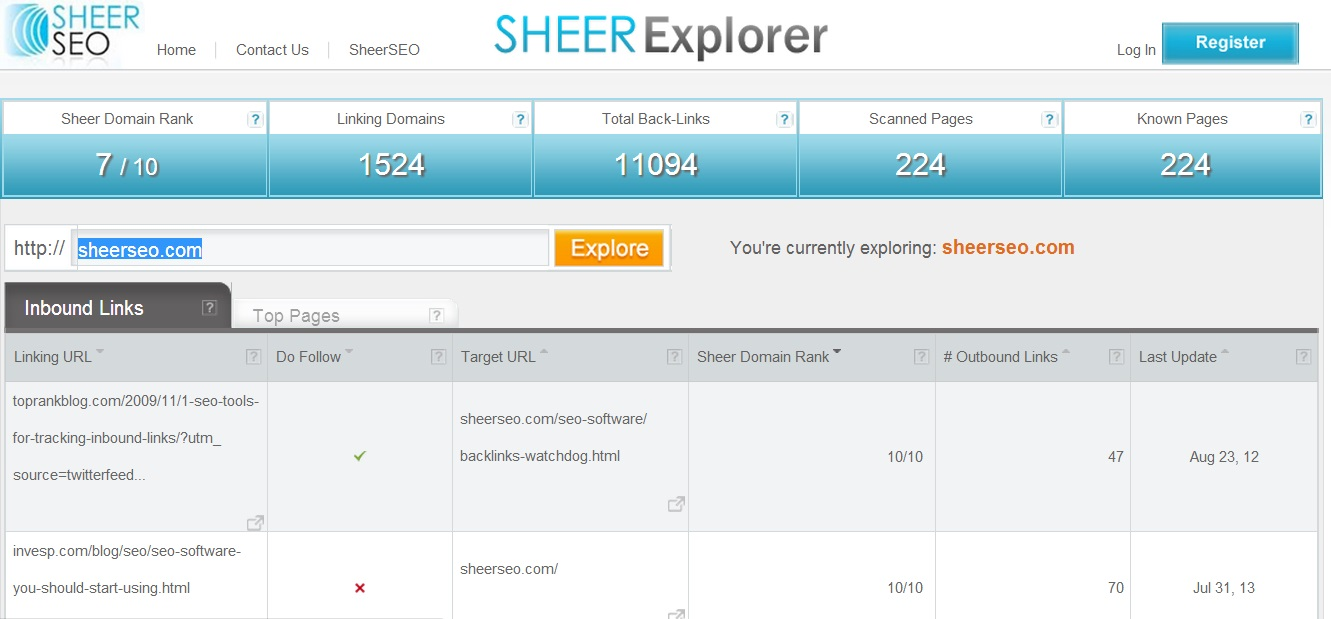 sheerexplorer inbound links tab