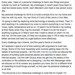 What's the New Year's resolution of Mark Zuckerberg?