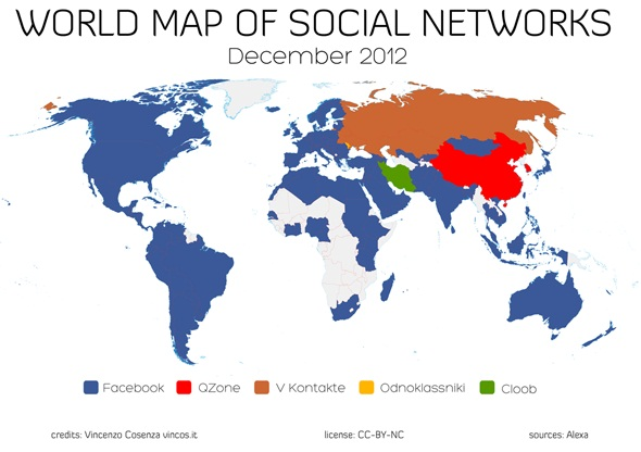 World Map of Social Networks Shows Facebook As Top Social Network In 127 Countries