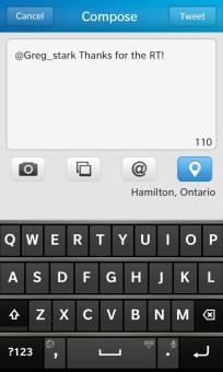 BlackBerry 10 Twitter Compose Tweet Screen
