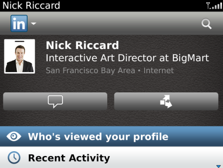 LinkedIn app for BB Profile Page