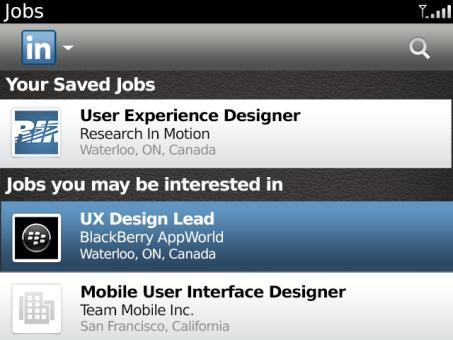 LinkedIn app for BB Save Jobs