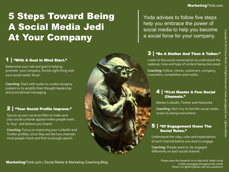 """Being a """"social media jedi"""" can be done in 5 steps as suggested by Gerry Moran. (Image: via business2community.com)"""