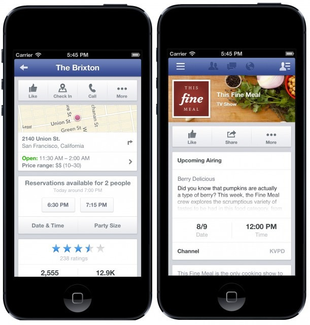 facebook restaurant reservations