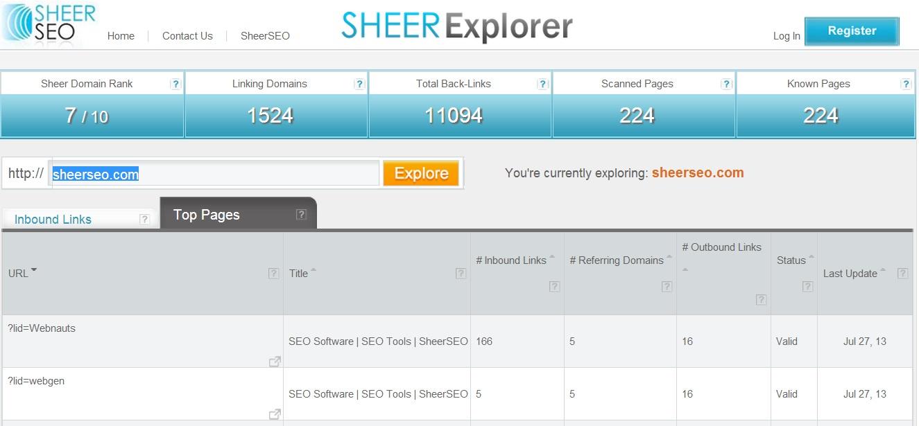 sheerexplorer top pages tab