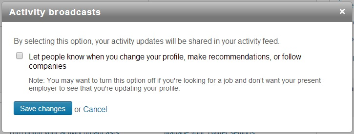 linkedin activity broadcasts setting