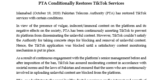 Tiktok back in Pakistan after government ban
