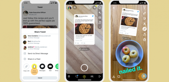 Twitter users can now share tweets directly to their Snapchat Stories